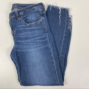 Zara Basic Distressed Denim Cropped Skinny Size 10